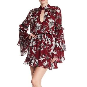 Parker Patterned Flare Sleeve Dress Red Rooted